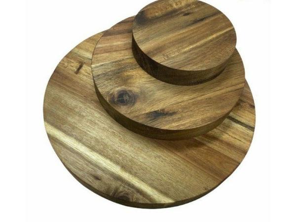 Runde Holzscheibe Rund Ronde Holz AKAZIE Platte Stärke 26mm Tischplatte massiv